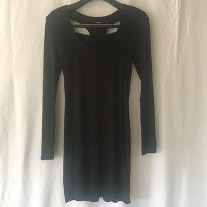 Hurley Cutout Back Tight Black Long Sleeve Dress